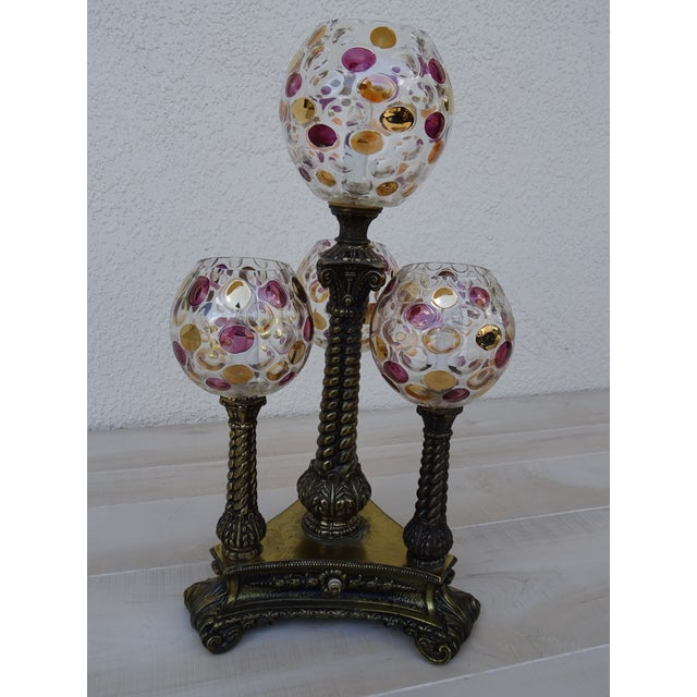 L & W Lamps Vintage L&l Wmc Pink and Gold Four Glass Globe Lamp Mid-Century Modern For Sale - Image 4 of 11