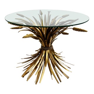 """French Vintage Gilt """"Sheaf of Wheat"""" Accent Table For Sale"""