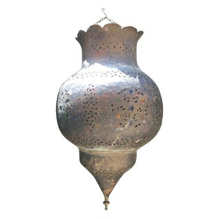 Antique Moroccan Brass Lantern With Colored Glass For Sale
