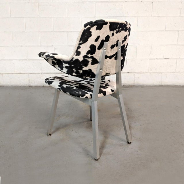 Contemporary Mid Century Modern Shaw Walker Faux Cowhide & Aluminum Chair For Sale - Image 3 of 11