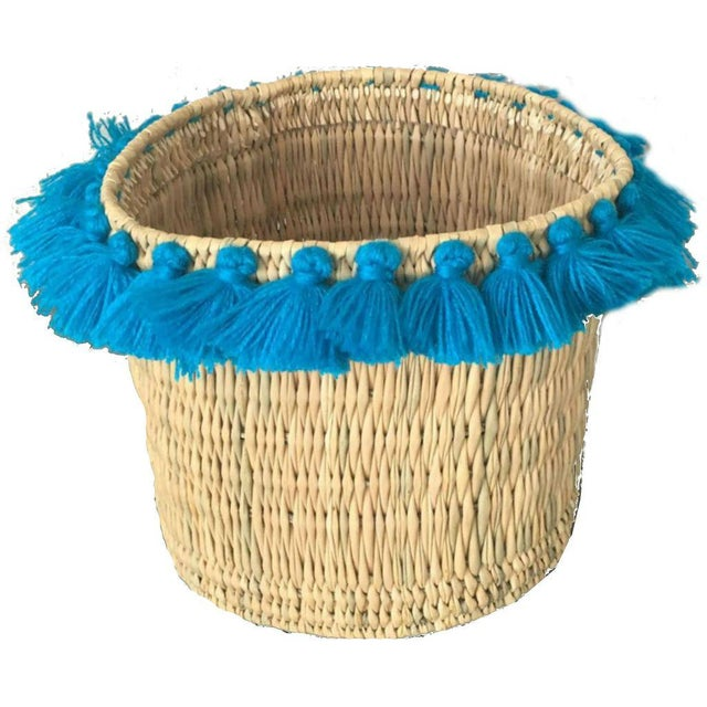 Moroccan Turquoise Tassel Large Basket For Sale - Image 4 of 4