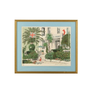 """Framed """"Hotel Gonnet"""" French Riviera Signed Limited Edition Lithograph by Denis Paul Noyer For Sale"""