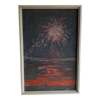 """1967 """"Fireworks Over Lake"""" Abstract Oil Painting Attributed to A.J. Garon, Framed For Sale"""