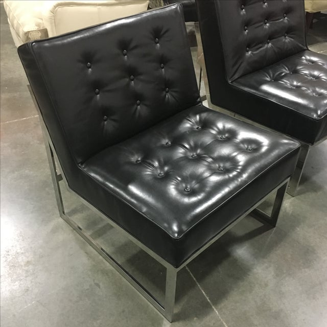 Black Leather & Chrome Chairs- A Pair - Image 4 of 8