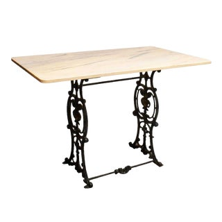 20th Century French Marble & Cast Iron Bistro Table For Sale