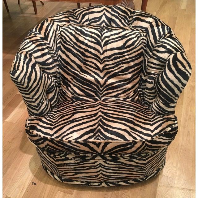 Tufted Zebra Swivel Club Chairs - Pair - Image 4 of 9