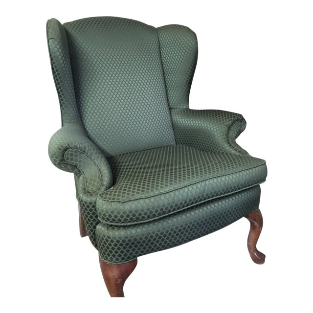 Modern Traditional Style Green Accent Chair For Sale