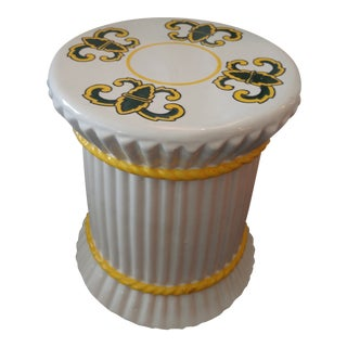 Spanish Shaped White Ceramic Garden Stool For Sale
