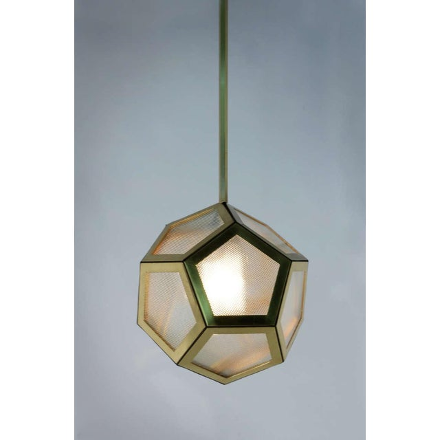 Mid 20th Century Contemporary Brass Black Leather and Industrial Glass Hanging Pentagon Lantern For Sale - Image 5 of 5