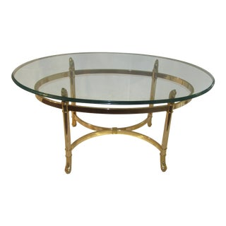 Italian Brass With Glass Top Oval Coffee Table