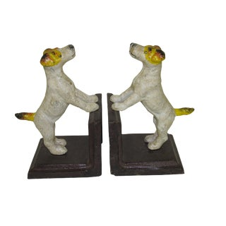 Jack Russell Terrier Cast Iron Bookends - A Pair For Sale