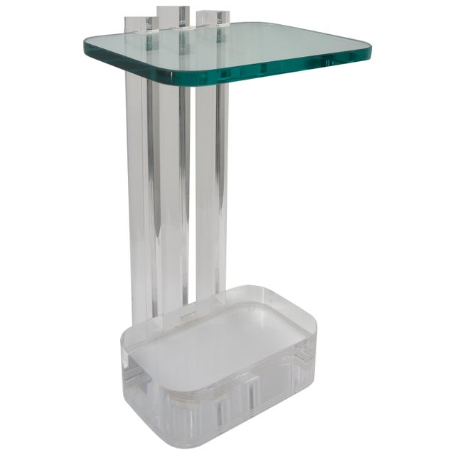 Lucite and Glass Side Table by Les Prismatiques For Sale In West Palm - Image 6 of 6