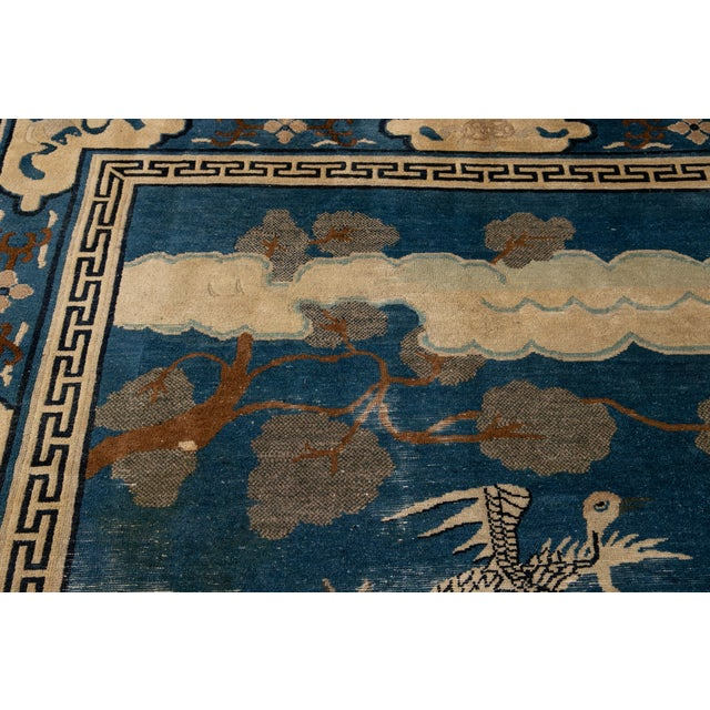 Textile Early 20th Century Antique Art Deco Chinese Peking Wool Rug For Sale - Image 7 of 13