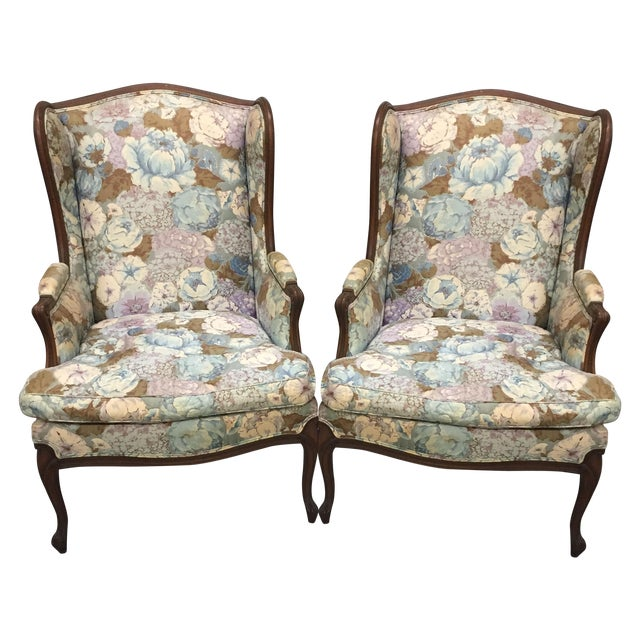 Large Peonies Upholstered Chairs - A Pair - Image 1 of 10