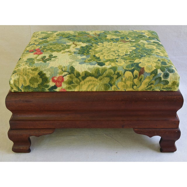 Early Carved 1900s Foot Stool w/ Scalamandre Marly Velvet Fabric - Image 2 of 11