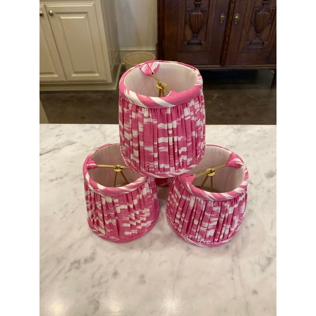 Pink Custom Lamp Sconce Shades in Pink Ikat Fabric - Pair For Sale - Image 8 of 9