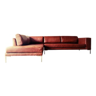 Gambrell Renard Leather Sofa Chaise Sectional For Sale