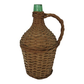 Antique Wicker Wrapped Green Glass Bottle Demijohn