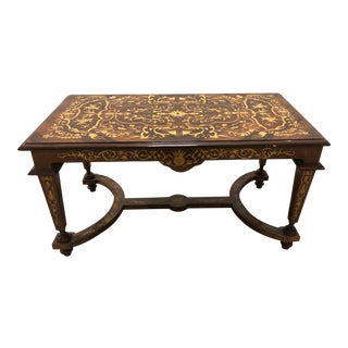 20th Century Vintage Louis XVI Burlwood Inlay Pedestal Coffee Table For Sale