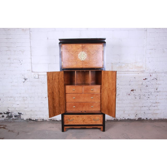 Century Furniture Black Lacquer and Burl Wood Chinoiserie Armoire Dresser For Sale In South Bend - Image 6 of 13