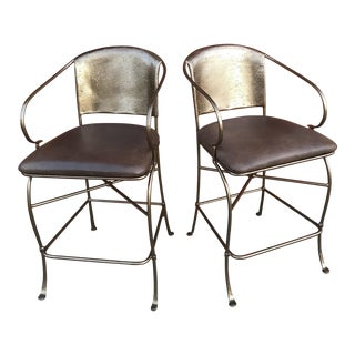 Vintage Bronze Bar Stools - a Pair