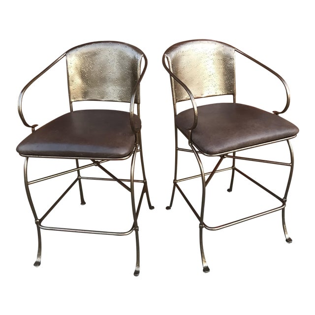 Vintage Bronze Bar Stools - a Pair - Image 1 of 6