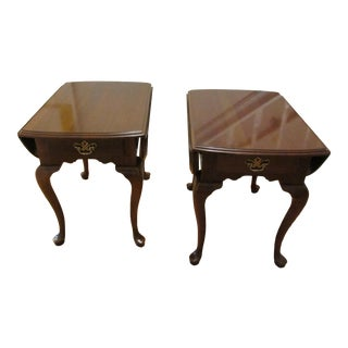 Traditional Ethan Allen-Kling Pair of Solid Cherry Drop Leaf End Tables - a Pair For Sale