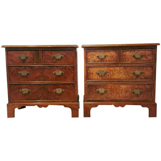 Antique Georgian Style Walnut Chests - A Pair - Image 1 of 7