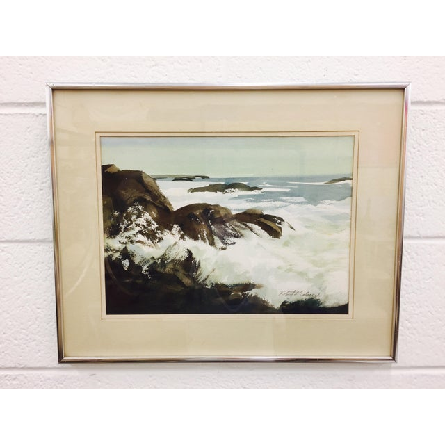 Vintage Framed Watercolor Seascape Painting - Image 2 of 8