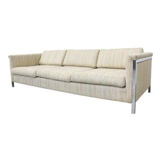 Mid-Century Danish Modern Milo Baughman Style 3-Seat Chrome Frame Sofa For Sale