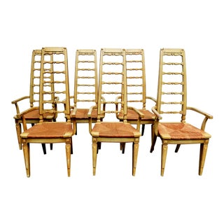 Gorgeous Heirloom Set of Six Thomasville Dining Arm Chairs For Sale