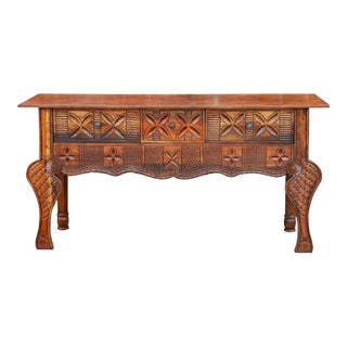Aged Tudor Brown Nahuala Carved Console For Sale