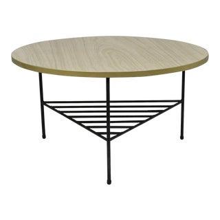 1950s Mid-Century Modern Paul McCobb Style Wrought Iron Tripod Coffee Table