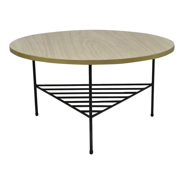 1950s Mid-Century Modern Paul McCobb Style Wrought Iron Tripod Coffee Table For Sale
