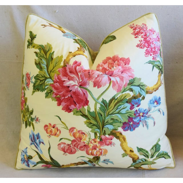 """French Brunschwig & Fils Floral Feather/Down Pillows 21"""" Square - Pair For Sale In Los Angeles - Image 6 of 13"""