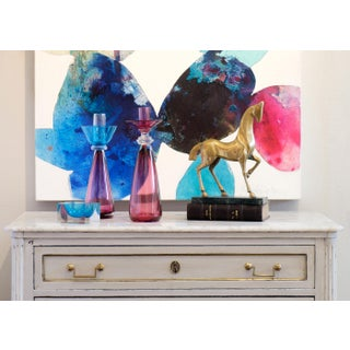 Murano Amethyst & Cerulean Glass Candlesticks - a Pair Preview
