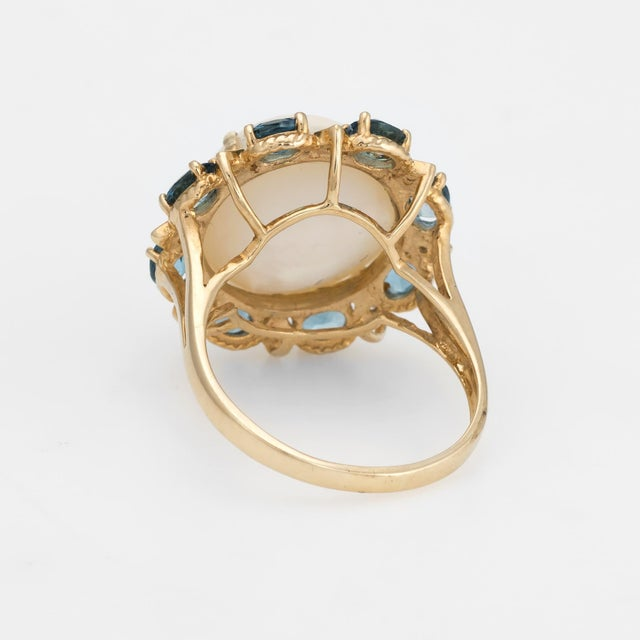 Mid 20th Century Estate Mabe Pearl Topaz Diamond Ring 14 Karat Gold Round Cocktail Jewelry Fine For Sale - Image 5 of 8
