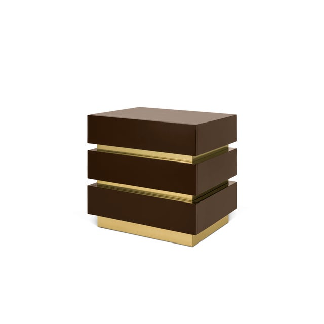 Contemporary Banded Nightstand in Brown / Brass - Flair Home for The Lacquer Company For Sale - Image 3 of 5