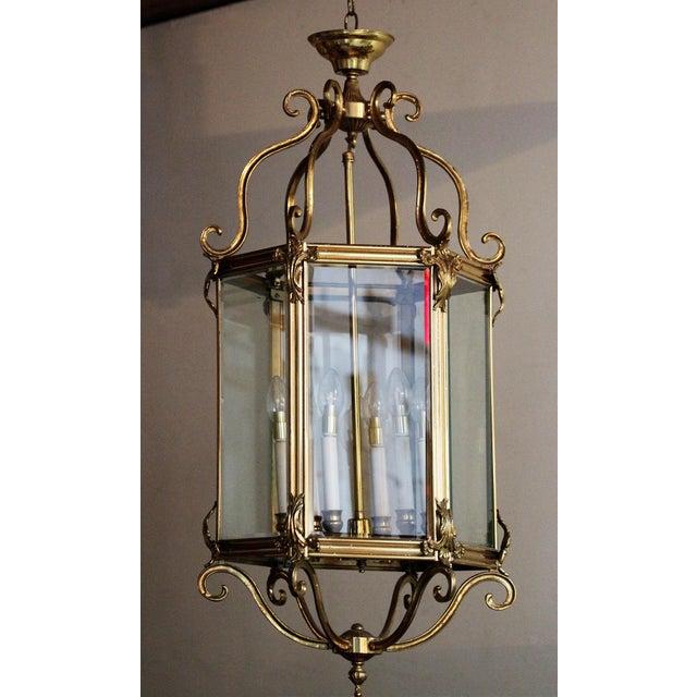 Late 20th Century Brass Hexagonal Lantern - Ceiling Light For Sale - Image 4 of 4
