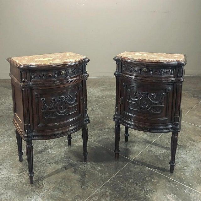 Pair 19th Century Italian Walnut Louis XVI Marble Top Nightstands For Sale - Image 13 of 13