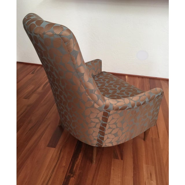 Mid-Century Modern Silk Leaf Upholstered Chair For Sale - Image 4 of 12