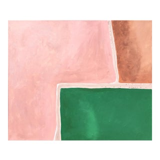 """""""Hutt Lagoon Pink Lake 3"""" Abstract Acrylic Shapes Painting For Sale"""