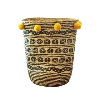 BrunanCo Borneo Tribal Drum Basket With Turmeric Yellow Pom-Poms