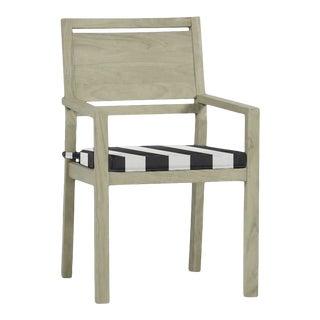 Summer Classics Avondale Teak Arm Chair in Cabana Stripe Midnight For Sale