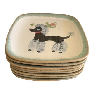 Vintage Handmade Pottery French Poodle Trays, Set of Eight For Sale