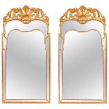 Image of Pair of Large Regency Style Giltwood Mirrors With Foliate Crest & Shaped Plate For Sale