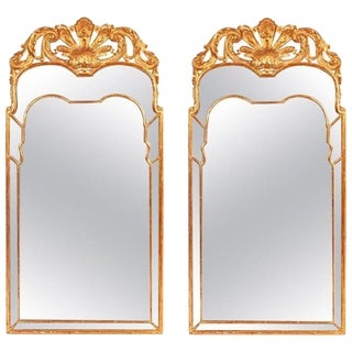Pair of Large Regency Style Giltwood Mirrors With Foliate Crest & Shaped Plate For Sale