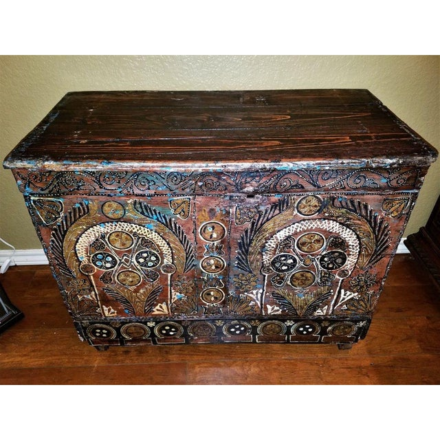 18c Scandinavian Hand Painted Pine Chest For Sale - Image 11 of 11