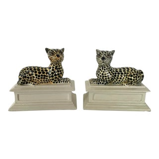 Mid 20th Century Italian Cheetah Leopard Bookends - a Pair For Sale