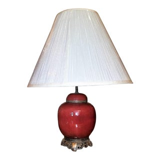 Early 20th Century American Dedham Style Sang De Boeuf Pottery & Gilt Bronze Table Lamp For Sale